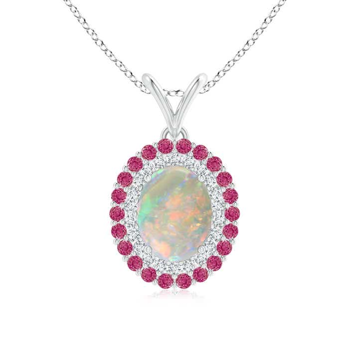Angara Dangling Round Pink Tourmaline and Diamond Halo Pendant in Yellow Gold