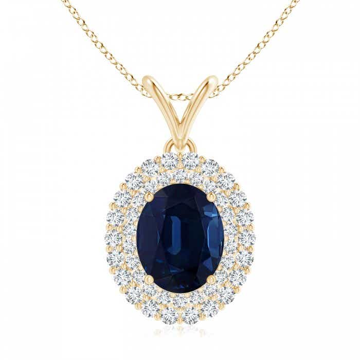 Angara Scalloped Frame GIA Certified Sapphire Halo Pendant sZgffKS