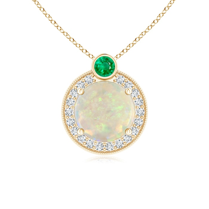 Angara Round Emerald Bezel-Set Pendant for Women in Yellow Gold lOHXUWy0ld