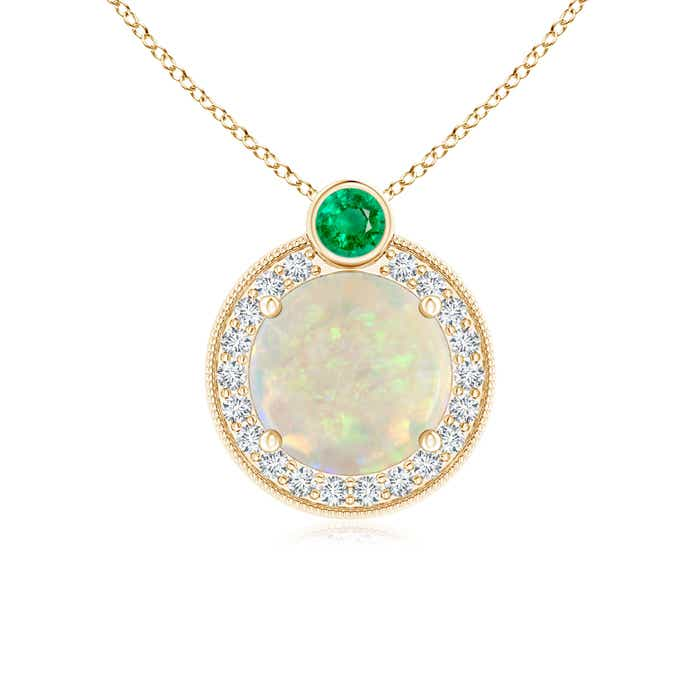 Angara Round Opal and Diamond Halo Pendant with Bezel-Set Emerald gDdsfjWc