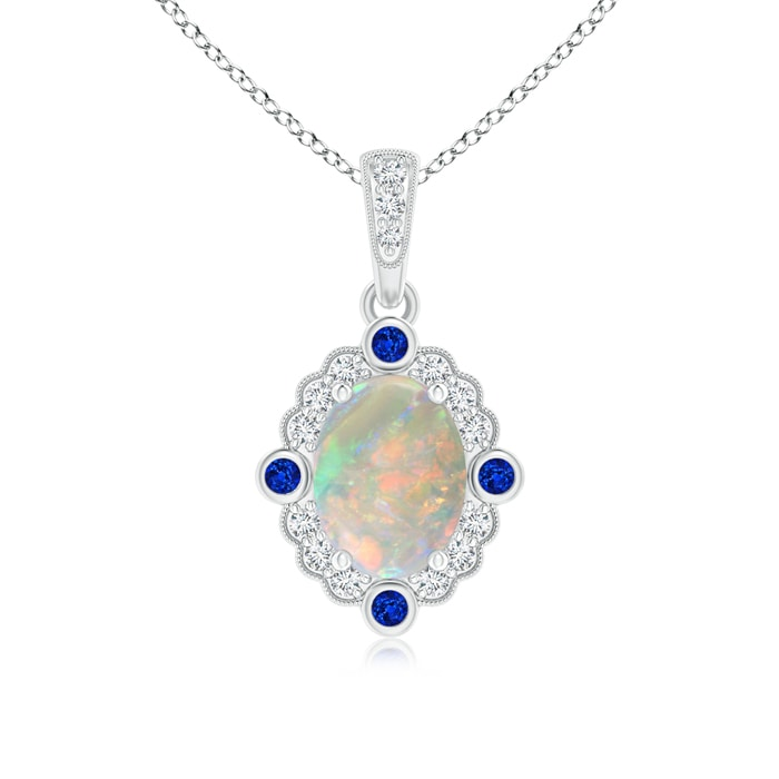 Angara Scallop-Edged Oval Opal Halo Pendant with Sapphire in White Gold e4FHS
