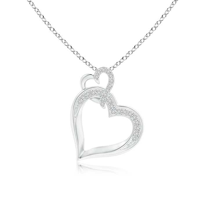 Angara Interlinked Diamond Tilted Heart Pendant LdnoGjOvLD