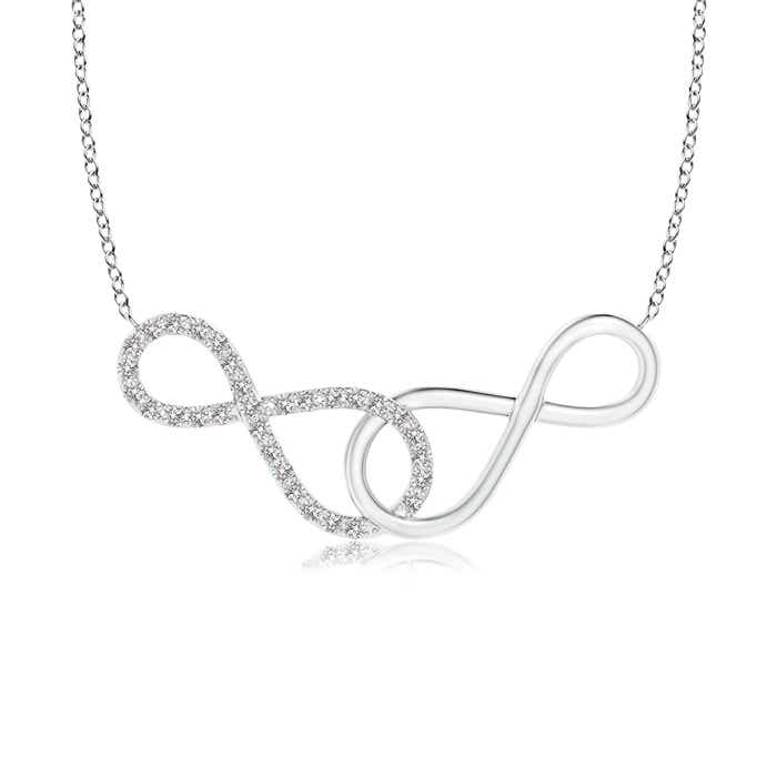 Angara Sideways Pave-Set Diamond Infinity Necklace kQg6QS