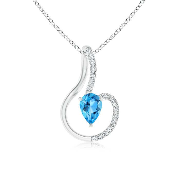 Angara Swiss Blue Topaz Solitaire Necklace with Diamond in Rose Gold TICApY
