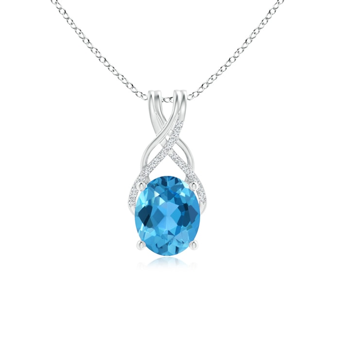 Angara Oval Swiss Blue Topaz and Diamond Necklace in Rose Gold