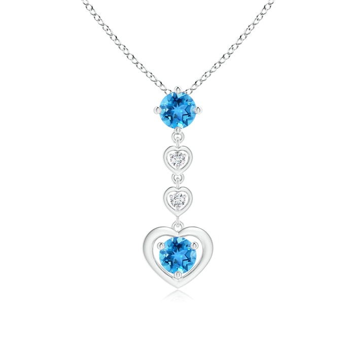 Angara Round Swiss Blue Topaz Solitaire Necklace in Rose Gold KopDI3UMqp