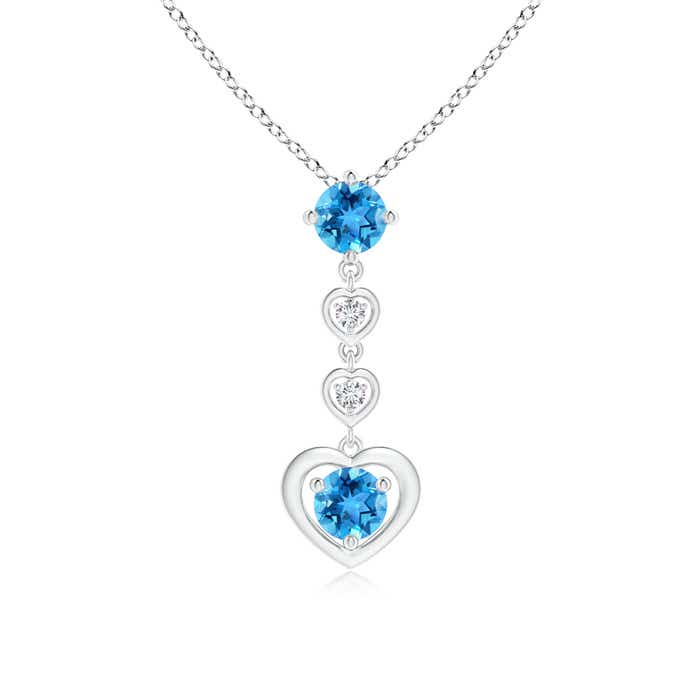 Angara Round Swiss Blue Topaz Solitaire Necklace in Rose Gold