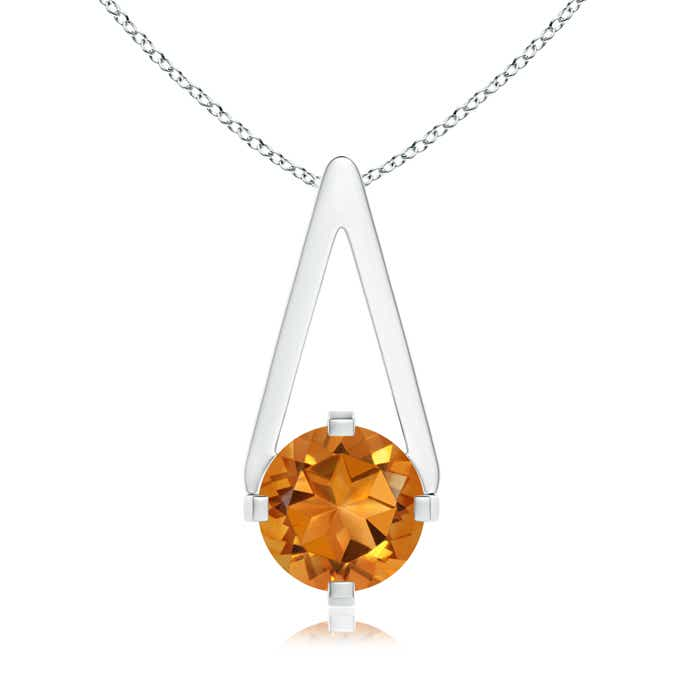 Angara Flat Prong-Set Solitaire Citrine Triangular Pendant