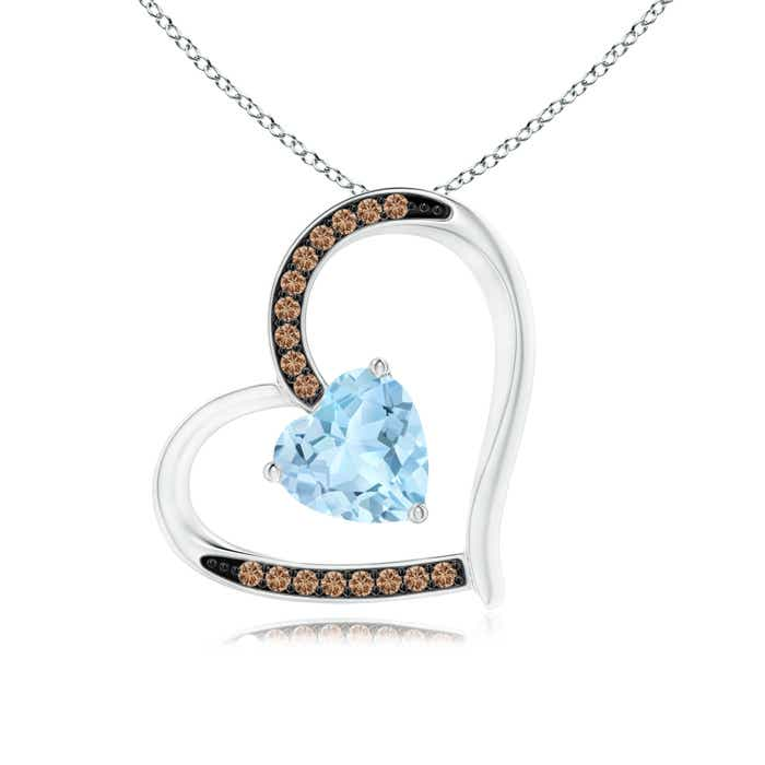 Aquamarine and coffee diamond tilted heart pendant angara 18 inches 14k white gold chain comes free with pendant aloadofball Image collections