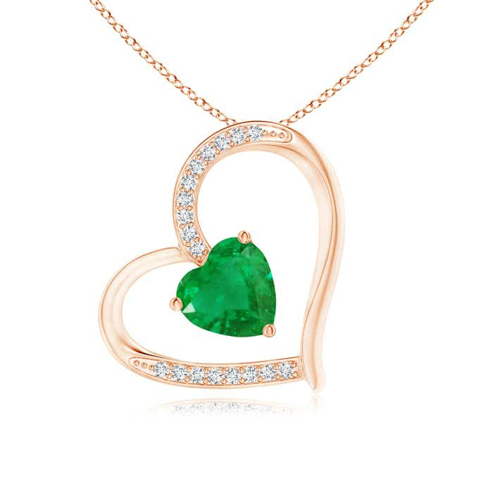 Angara Heart Shaped Emerald Pendant in Rose Gold wykAwx