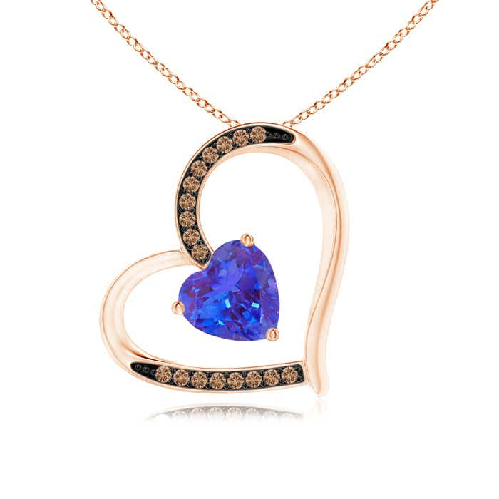 Angara Graduated Brown Diamond Tilted Heart Pendant y5nQtVngf