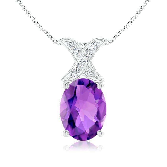 Angara Oval Amethyst XO Pendant with Diamonds bERALq