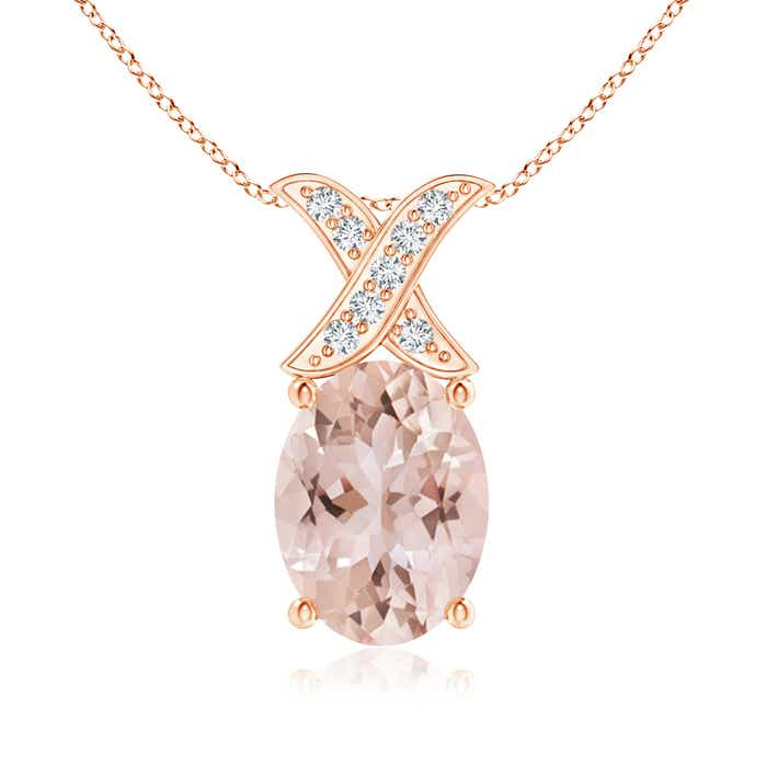 Angara Oval Morganite and Diamond Halo Cocktail Pendant in Rose Gold