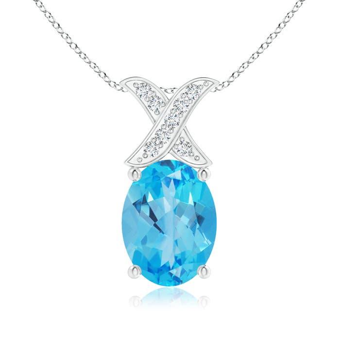 Angara Oval Swiss Blue Topaz Criss Cross Pendant with Diamonds 2vjCK