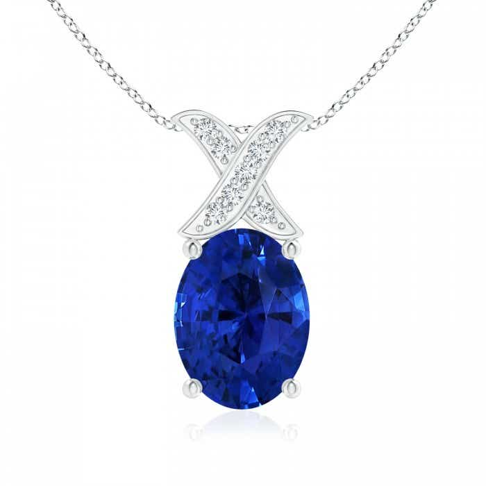 Angara Sapphire Pendant - GIA Certified Sapphire Necklace in 18k White Gold NcOMqj57i