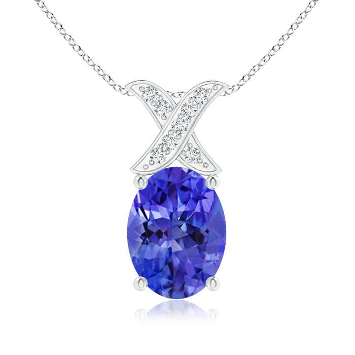 Angara Oval Tanzanite Solitaire Pendant with Trio Diamond gPyHe9Z9