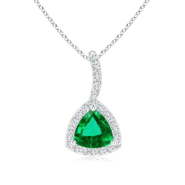 Angara Trillion Emerald Halo Pendant with Curved Bale in 14K White Gold lzV2nd