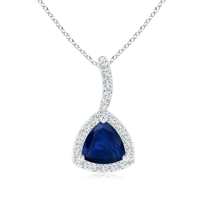 Angara Trillion Sapphire Halo Pendant with Curved Bale in 14K White Gold 8hQVgT