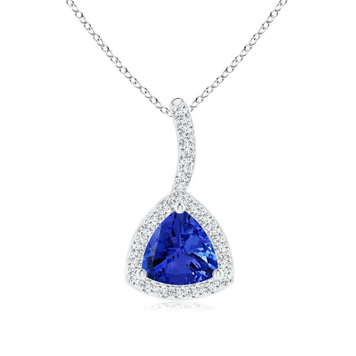 Angara Trillion Tanzanite Solitaire Necklace in White Gold q2fSDpTV4
