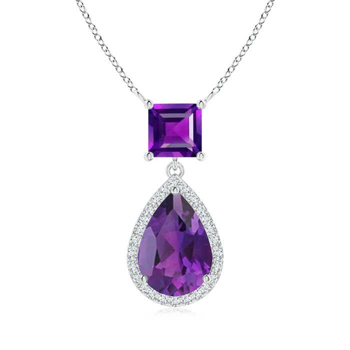 Angara Square Amethyst Necklace with Diamond Halo in 14K Yellow Gold vLXRV0cnnR