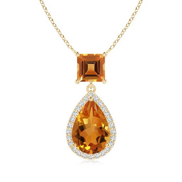 Angara Pear Citrine Diamond Halo Pendant in 14K White Gold