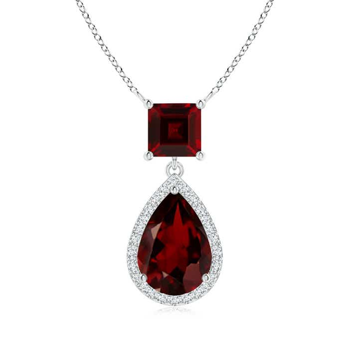 Angara Square Garnet Necklace with Diamond Halo in 14K Rose Gold 9sQ7R