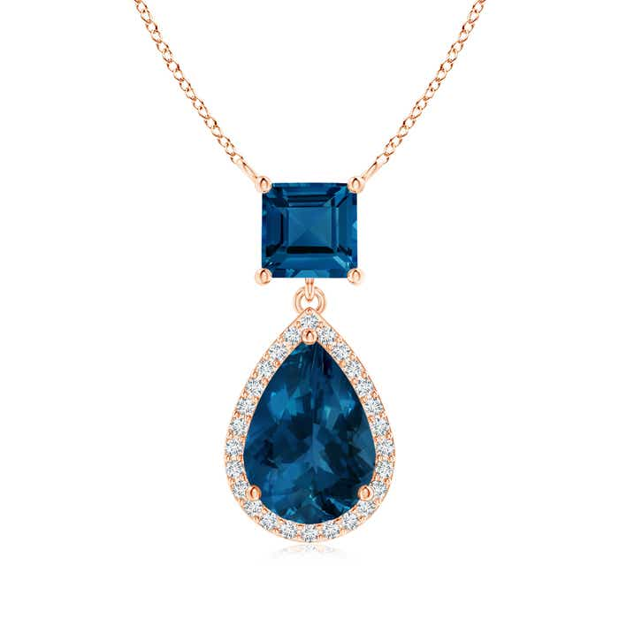 Angara London Blue Topaz Teardrop Pendant with Diamond Halo FdYao