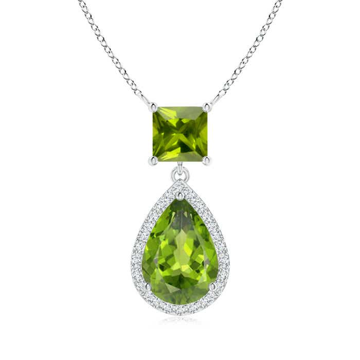 Angara Square Peridot Necklace with Diamond Halo in 14K Yellow Gold XtFkhY6