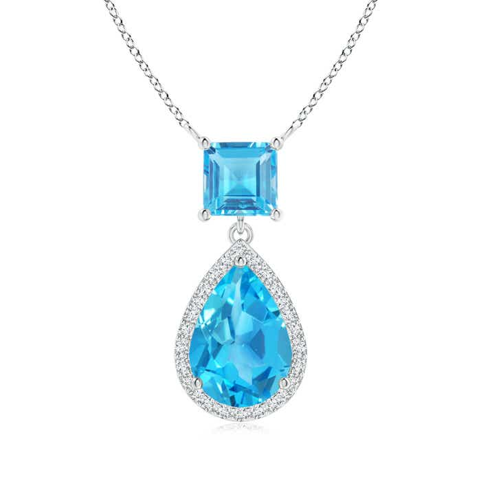Angara Pear Diamond Swiss Blue Topaz Necklace in Rose Gold