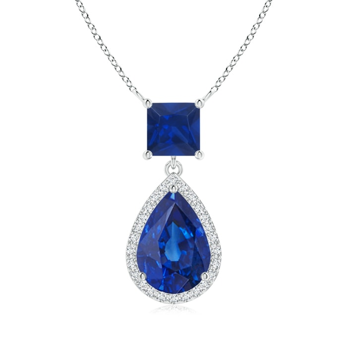 Angara Pear Sapphire Pendant with Diamond Halo in 14K Yellow Gold ZmRtL