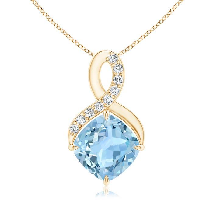 Angara Claw-Set Aquamarine Infinity Pendant with Diamonds Ee2ug