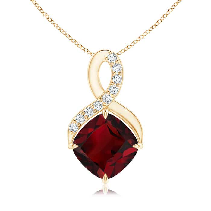 Angara Cushion Garnet Infinity Drop Pendant with Diamonds 1ho19F3Xj