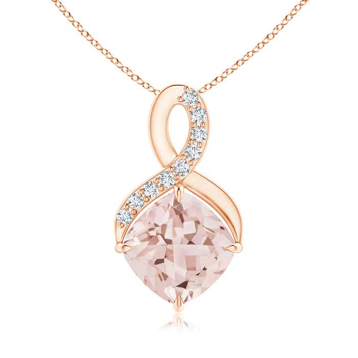 Angara Cushion Morganite Infinity Drop Pendant with Diamonds Im1e81sNbm