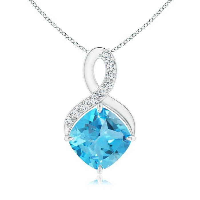 Angara Claw-Set Cushion Swiss Blue Topaz Beaded Halo Necklace LZbPo