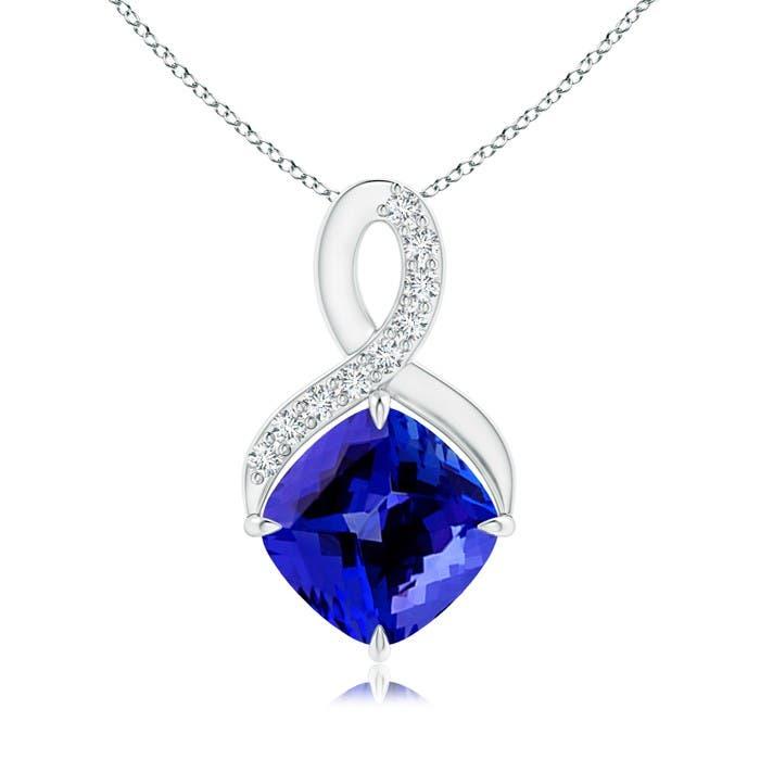 Angara Claw-Set Amethyst Infinity Pendant with Diamonds 8OVHlwyYe