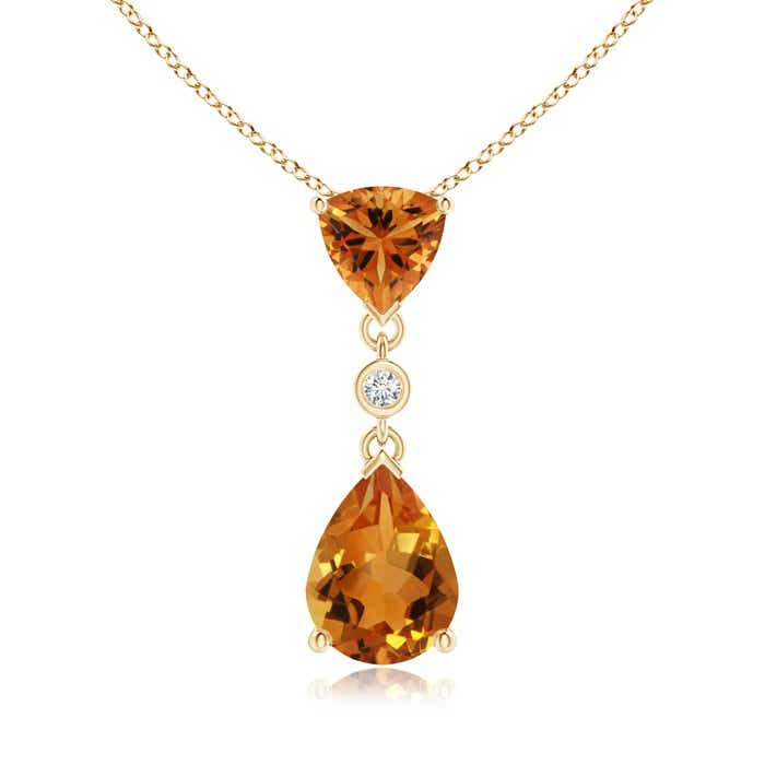 Angara Trillion Citrine and Diamond Drop Pendant in 14K Yellow Gold