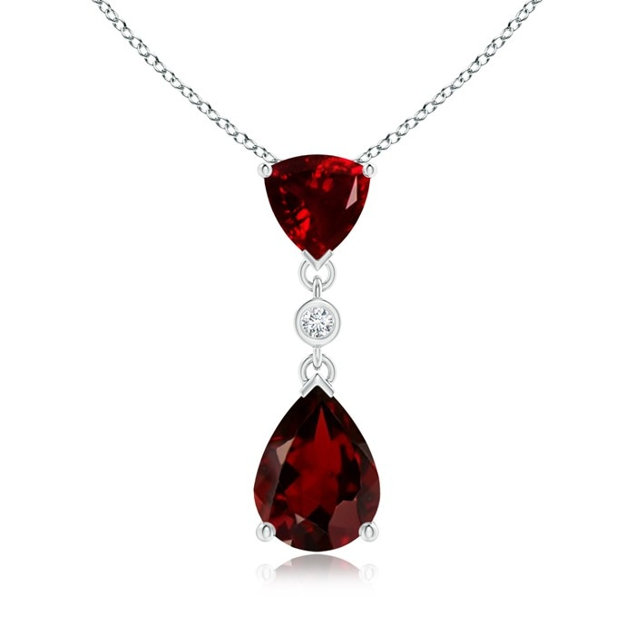 Angara Diamond Halo Garnet Drop Pendant in White Gold