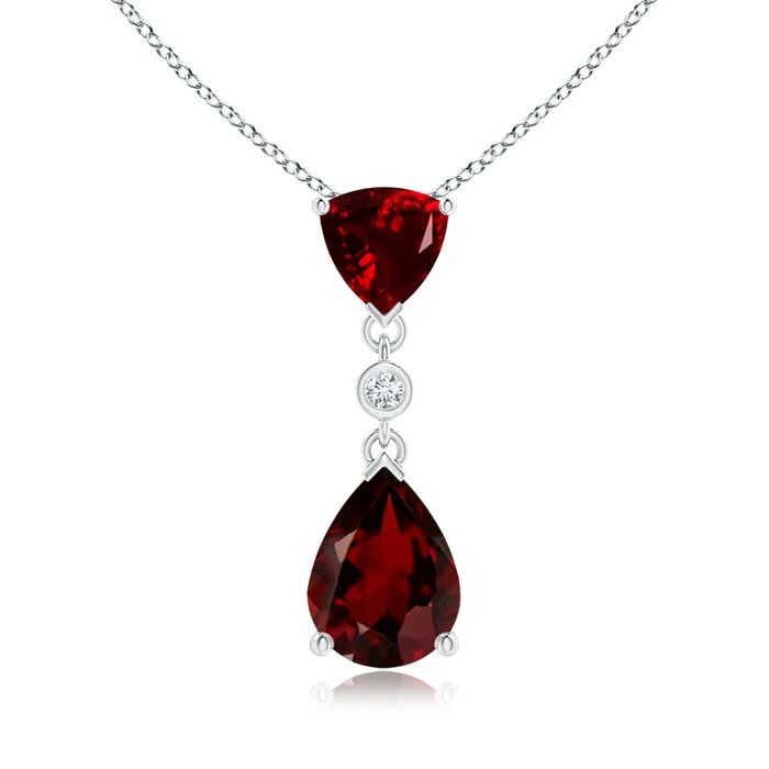 Angara Diamond Halo Garnet Drop Pendant in White Gold 7UW14Kp1yN