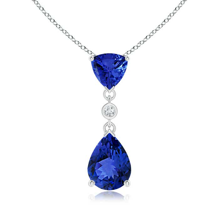 Angara Pear Shaped Tanzanite Necklace in Rose Gold OireBZ