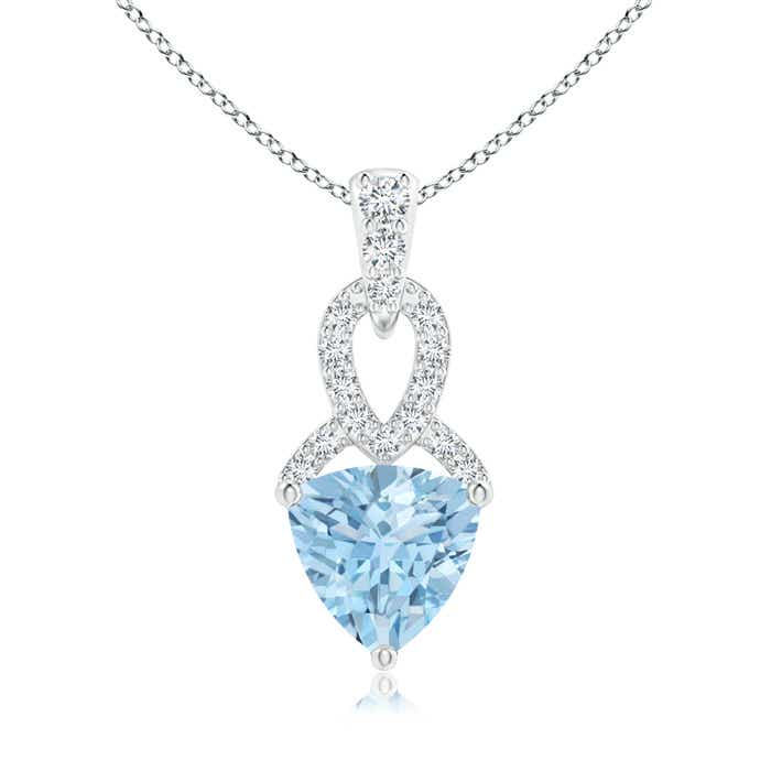 Angara Trillion Aquamarine Solitaire Pendant with Trio Diamonds