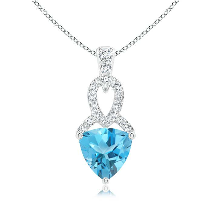 Angara Swiss Blue Topaz Diamond Solitaire Necklace in 14k White Gold oLaZ0RrUHw