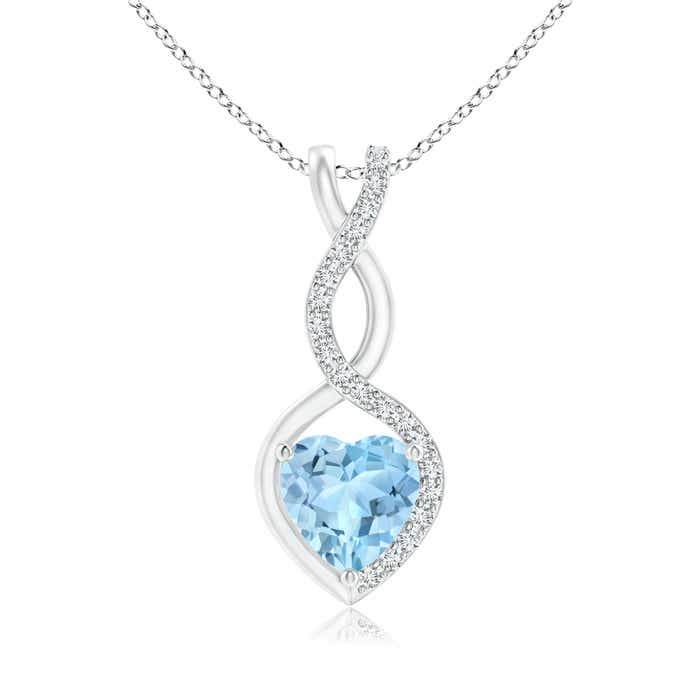 Aquamarine infinity heart pendant with diamonds angara 18 inches 14k white gold chain comes free with pendant aloadofball Gallery