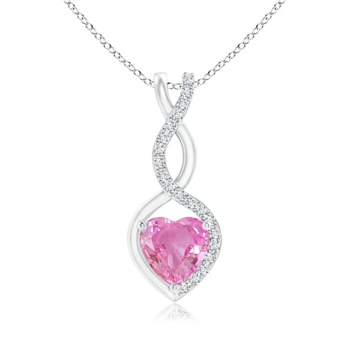 Angara Heart-Shaped Pink Sapphire Pendant with Diamond Halo yhcyfB