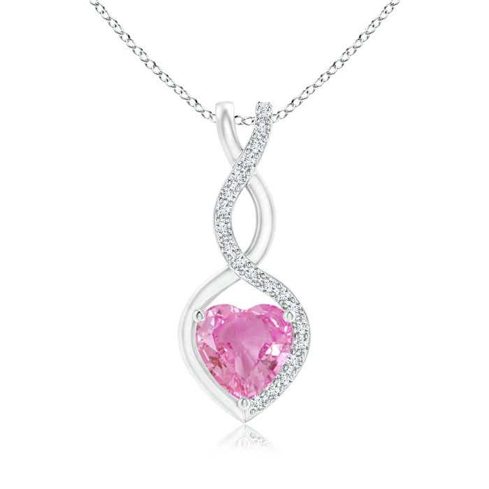 Angara Ruby Infinity Heart Pendant with Diamonds