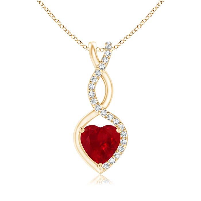 Angara Ruby Infinity Knot Pendant with Puffed Heart VzksZVu9sE