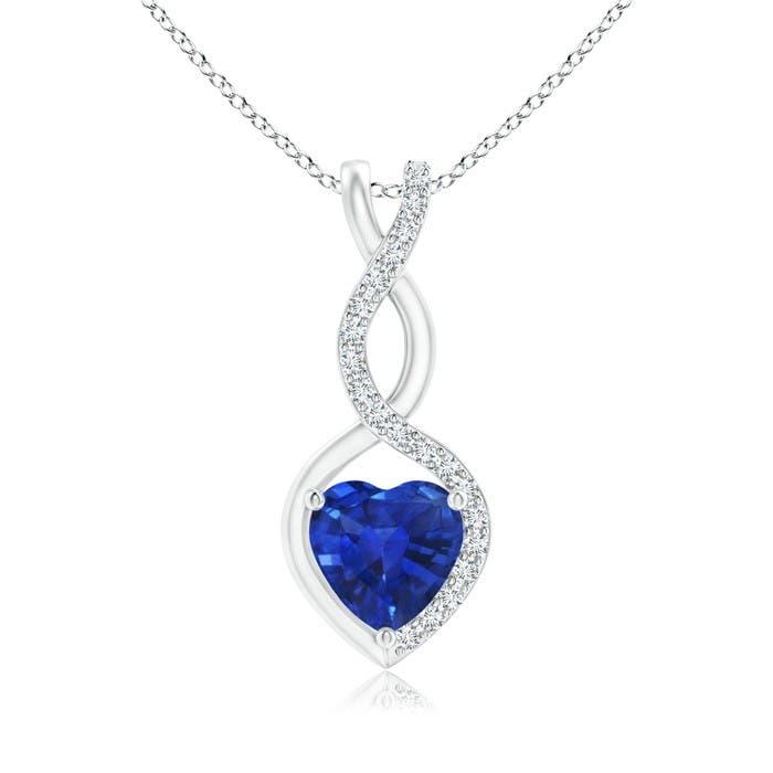sapphire infinity heart pendant with diamonds