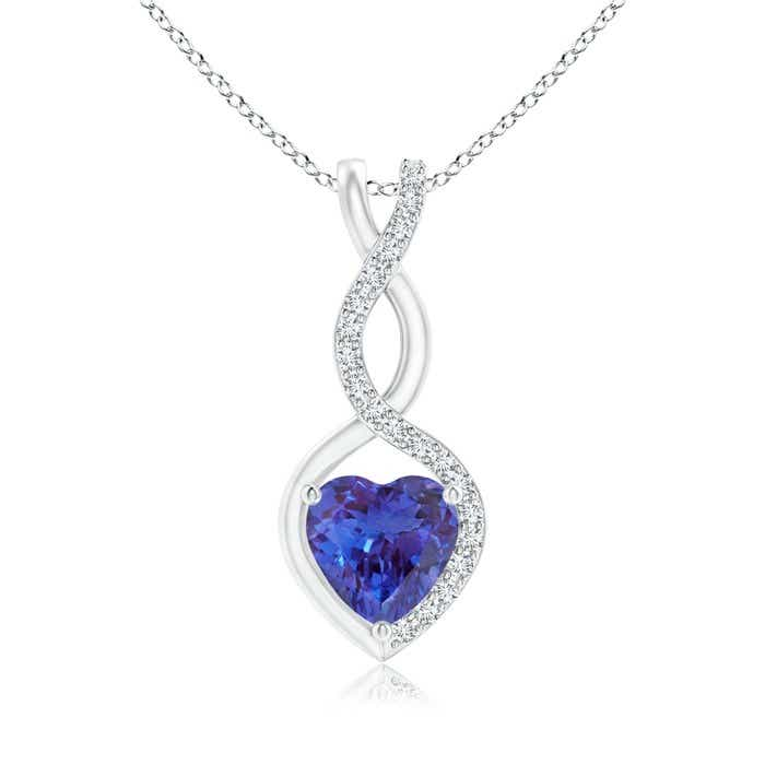 Angara Round Tanzanite Diamond Two Stone Necklace in 14k White Gold