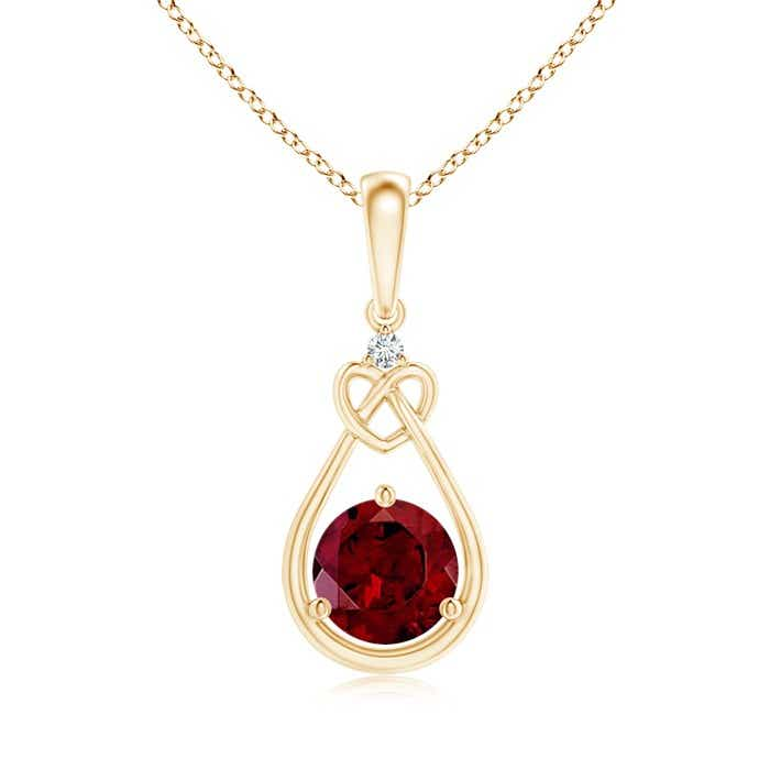 Angara Garnet Knotted Heart Pendant with Diamond aY3uLYS