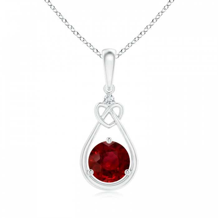 Angara GIA Certified Floating Ruby Tulip Pendant with Diamonds