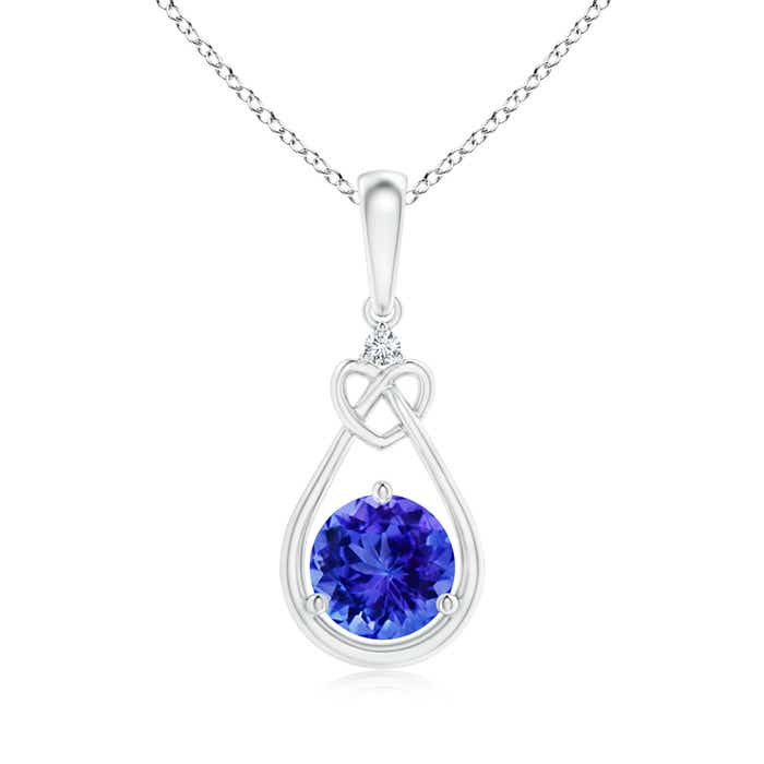 Angara 6mm Round Tanzanite Pendant in Platinum